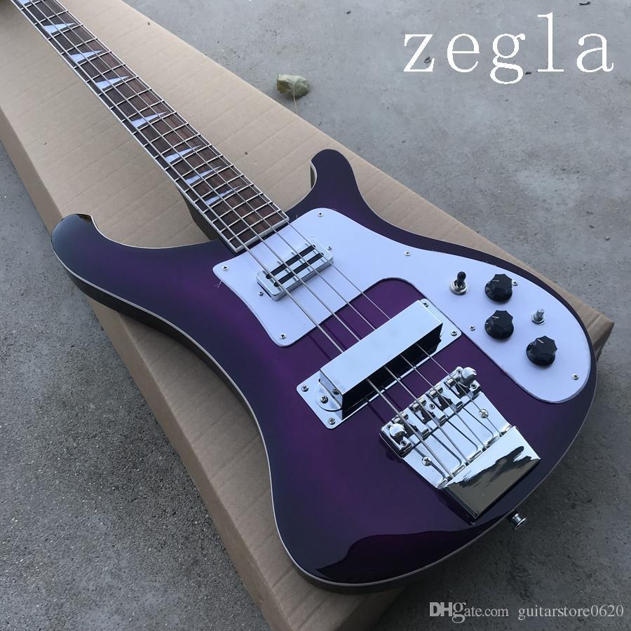 Высокое Качество Фиолетовый 4 Струны 4003 Электрические Бас-Гитары стерео варитон