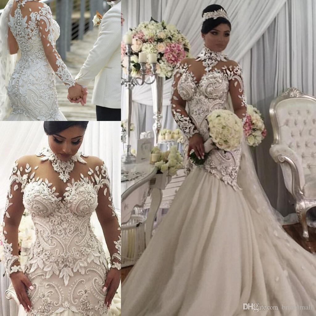 Plus Size Illusion Long Mouw Mermaid Trouwjurken 2020 Nigeria Hoge Hals Kasteel Bruiloft Bruidsjurken Buttons Terug Vestidos de Novia