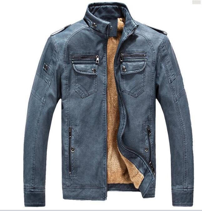 Giacche 2020Autumn inverno del progettista di marca degli uomini del rivestimento di cuoio del cappotto di moda collare del basamento misura sottile spessore vello degli uomini per cappotti