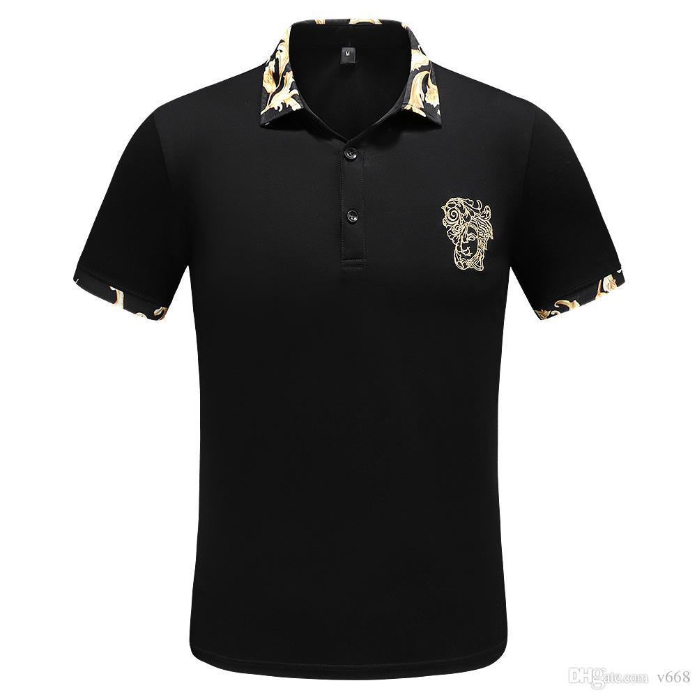 2019 Повседневная рубашка поло лето Англия Классический короткий рукав полосатой Polos Top Brand Мужские вышивки пуловер нагрудные Шея Хлопок Tee