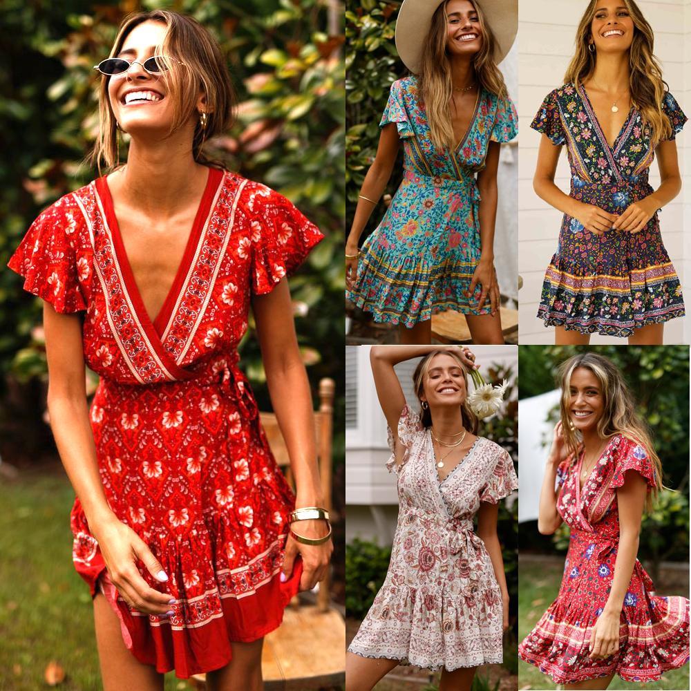 Богемское платье Sexy Boho Повседневная Пляж Sundress Женщин Цветочной Printed Урожай Сладкого Kawaii платье Складка Узелок Femme