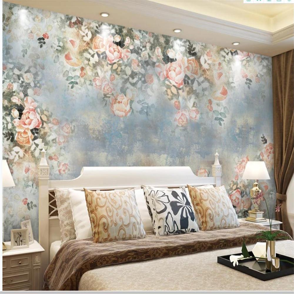 oda Vintage yaşayan için Özel Modern duvar kağıdı çiçek arka plan duvar bağbozumu çiçek duvar kağıtları arka plan el boyaması gül