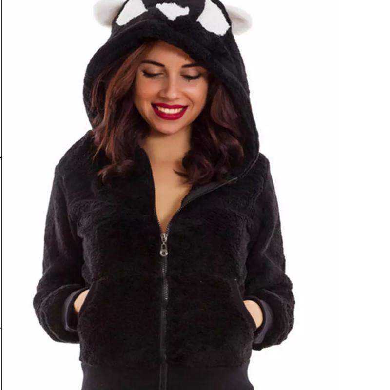 패션 양털 여자 겨울 테디 베어 포켓 솜 털 코트 여성 후드 따뜻한 부드러운 양털 모피 풀오버 자켓 후드