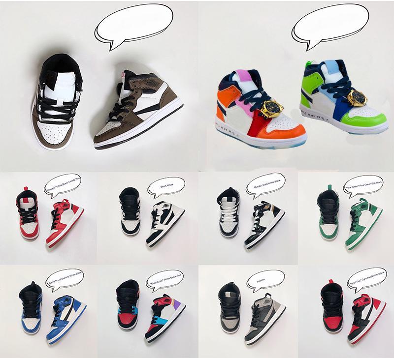 I neonati 1s 1 Bambino Pallacanestro Designer delle scarpe da tennis di pino verde Gioco Reale Travis Scotts Ombra Chicago Bred Scarpe Melody Mid Multi-Color per bambini