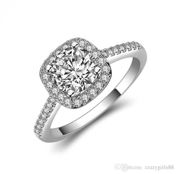 New Arrival Classic Shiny White Sapphire Wedding Ring 925 Silver Engagement Jewelry For Women Lady