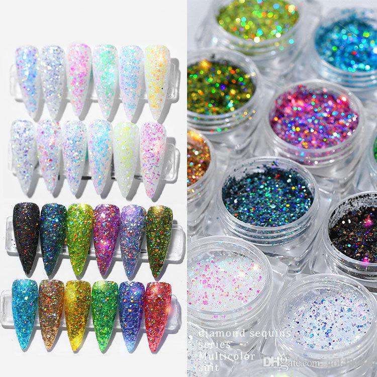 12 Cores / caixa holográfica do arco-íris Glitter 2020 prego pó de prata / rosa / ouro Mix Tamanho Glitter 1g / Garrafa