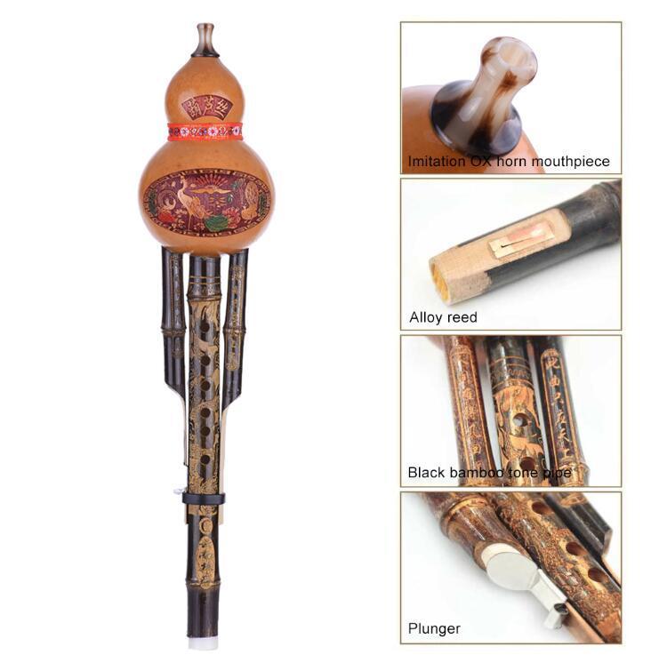 2019 chinesische handgemachte Hulusi Black Bambus Gourd Cucurbbit Flöte Ethnische Musikinstrument Key von c mit Fall für Anfänger Musikliebhaber