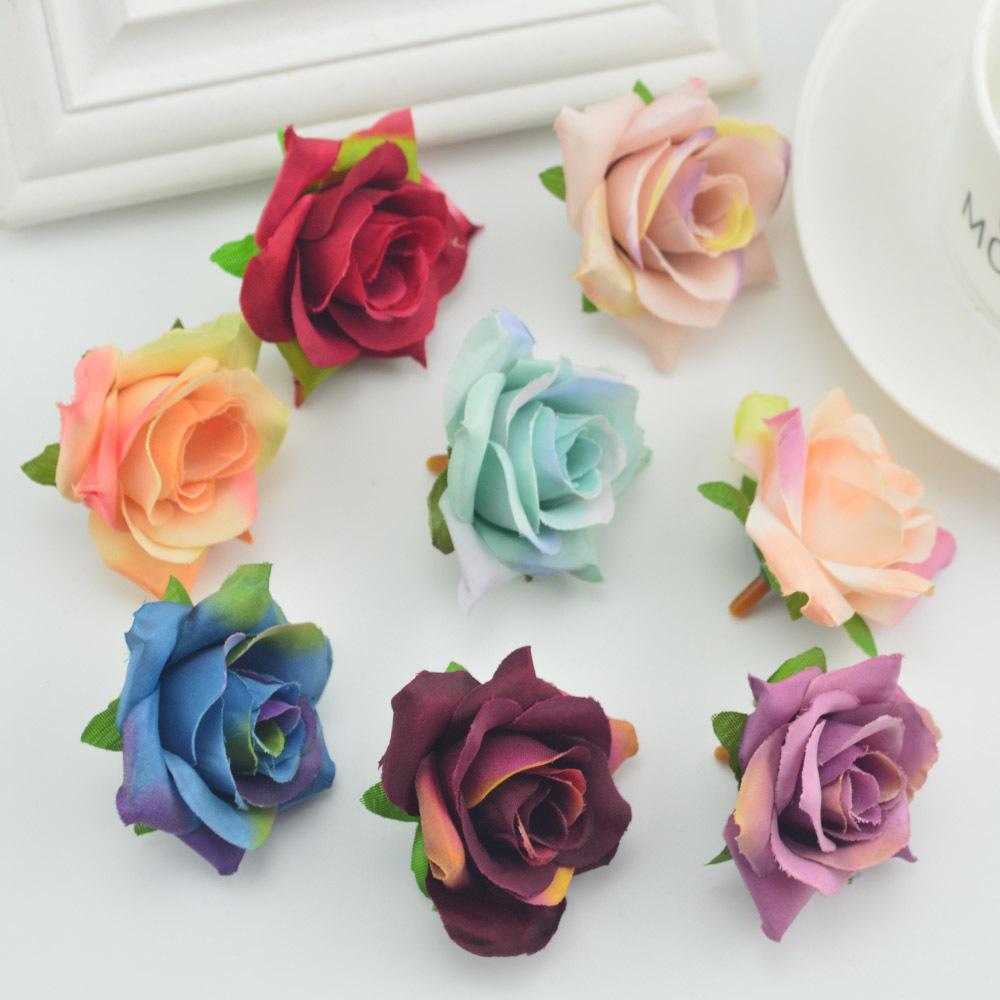 5pcs Fake Flowers Wall Artificial Head For Home Wedding Decoration Diy Make Door Wreath Gift Box Scrapbooking Silk Retro Roses