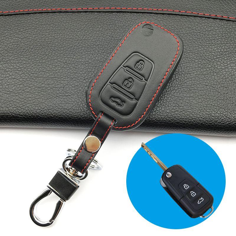 Для LiFan X60 3 кнопки высокое качество верхний слой кожа пульт дистанционного управления ключ крышка чехол защита сумка складной автоаксессуары