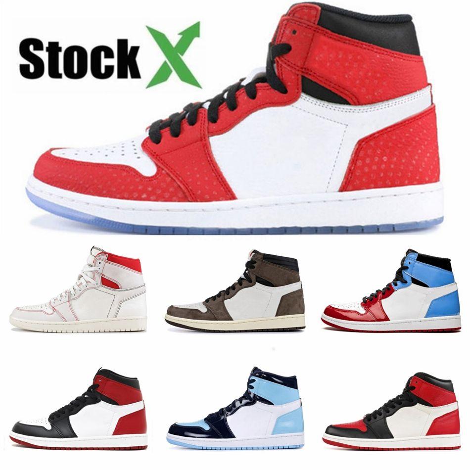 Top Quality 1 1S Jumpman Mens Basketbal Shoes Black Satin 555088-060 Toe Ouro Real Academia Mens Red desenhista calça # QA937