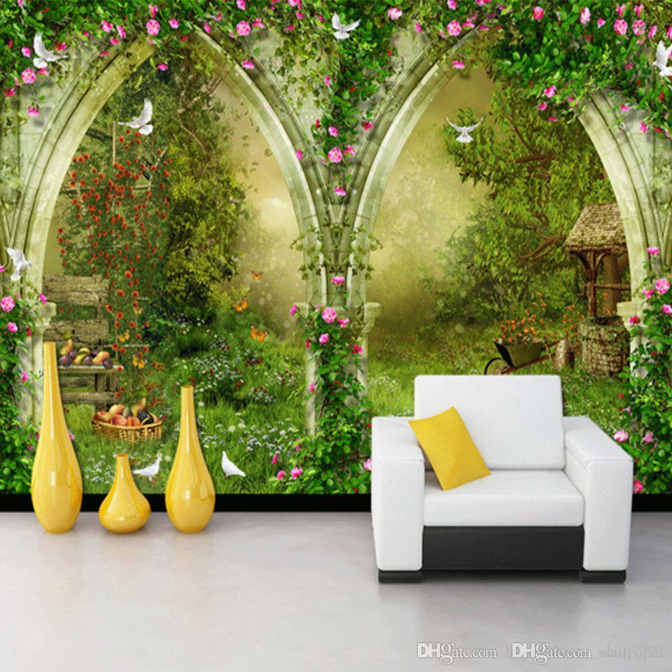 Custom Photo Wallpaper Mural Wall Sticker Rose Flower Vine TV Background Wall Cafe Pastoral Casual Style 3d wallpaper for room