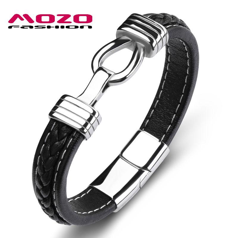 Fashion Bangles Men Black Genuine Leather Charm Bracelets For Women Cross Card Lock Punk Male Jewelry