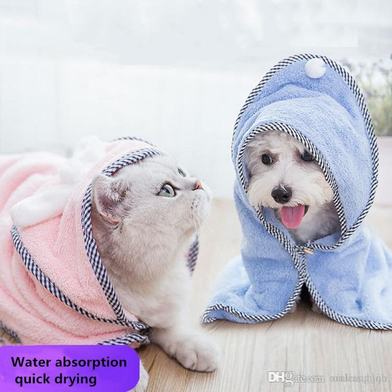 Mode Chien Chat Serviette de bain en peluche petit chien peignoir couverture à double usage Pet Supplies chiot Peignoir maman Divers vêtements pour animaux domestiques