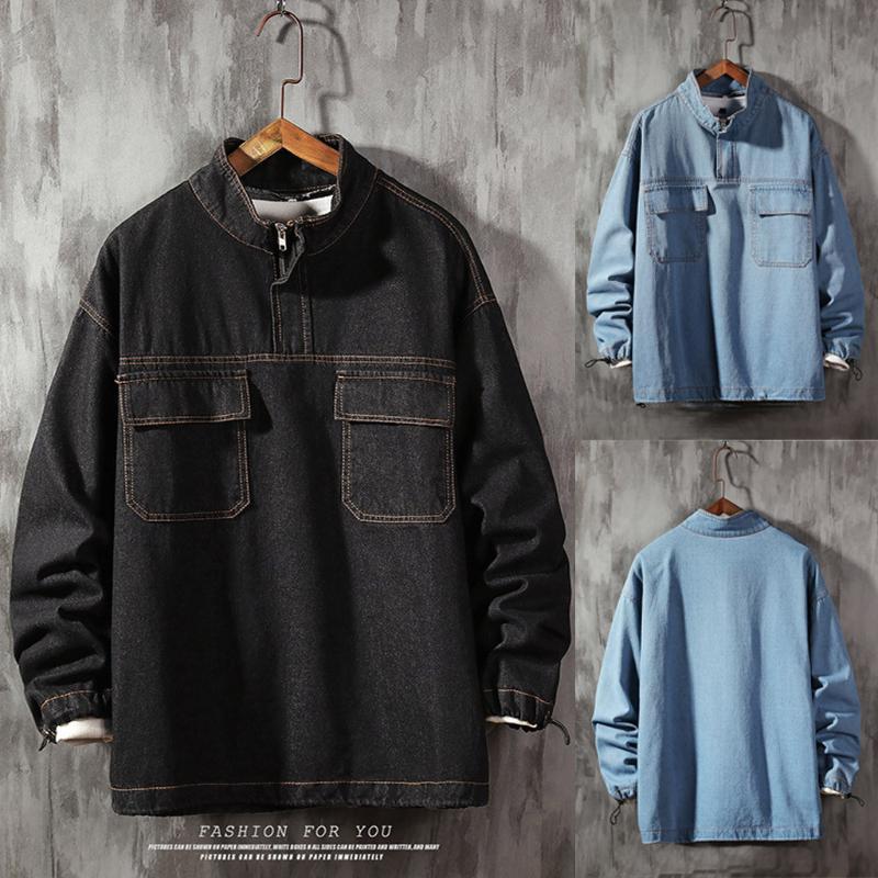 Siyah Denim Ceket Erkekler İlkbahar Sonbahar Moda İşleme Outwear Jeans Ceket Denim Erkek Kovboy Bombacı ceketler Bluz