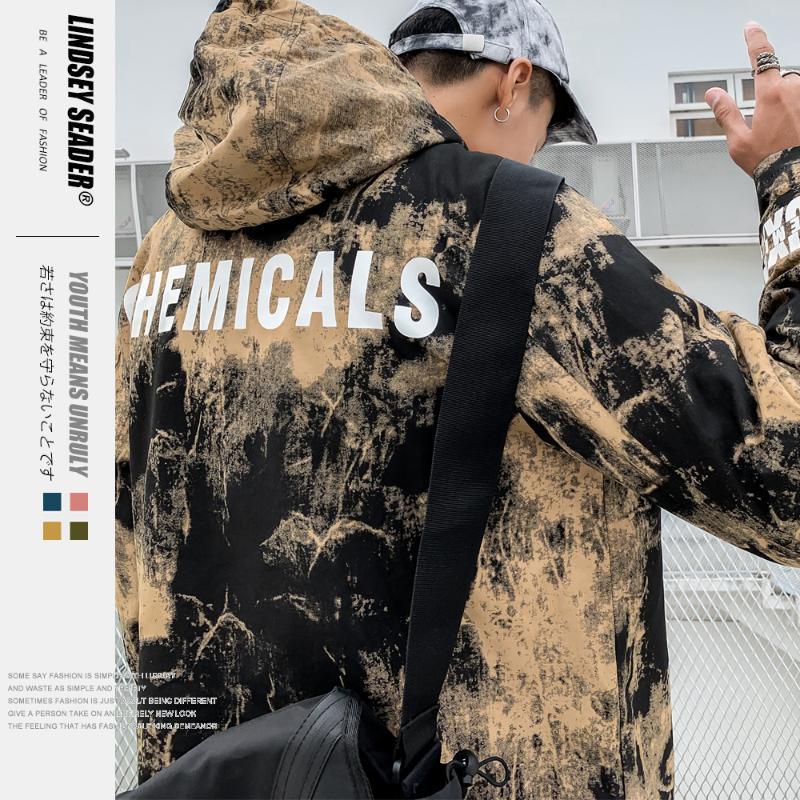 Lindsey Seader para hombre de Hip Hop con capucha de la chaqueta rompevientos Harajuku chaquetas de camuflaje de la vendimia Escudo otoño camuflaje Streetwear Outwear