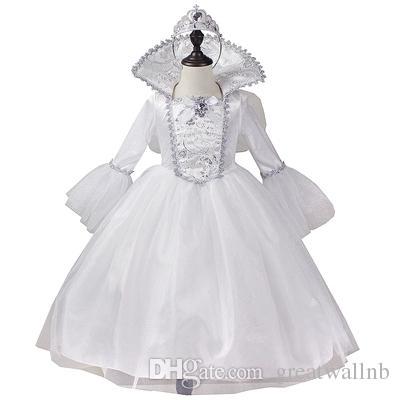 Compre Vestido De Ala De Hadas Blanco De Niña De Niños Reales Al 100 Con Banda Para El Cabello Etapa Stuido Reina Princesa Cos Niña A 7006