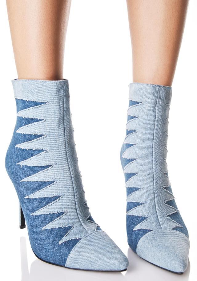 Brand Sexy Denim Blue Women Boot High Heels Fashion Nightclub Party Ankle Boots Pointed Toe Jeans Ladies Shoes