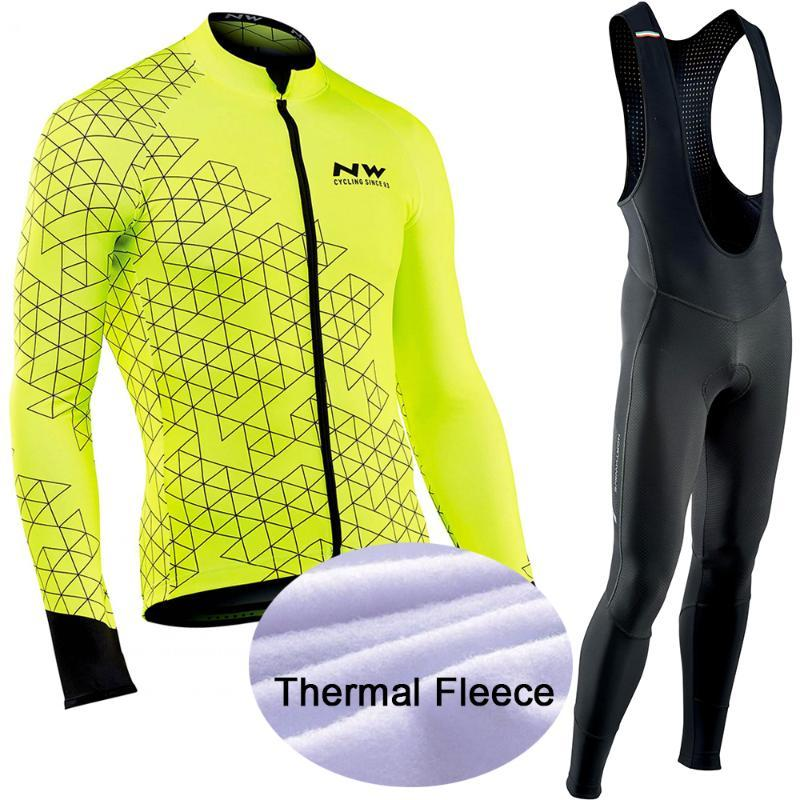 Ropa ciclismo Warm 2020 Winter Thermal Fleece Cycling Clothes Men's Jersey Suit Outdoor Riding Bike MTB Clothing Bib Pants Set