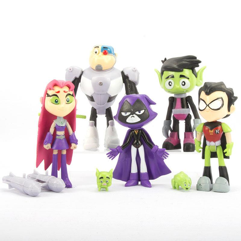 2020 New Teening Titans GO Action Figures Toys Robin Raven Beast Cyborg PVC Model Birthday Brinquedo toys for children T200505