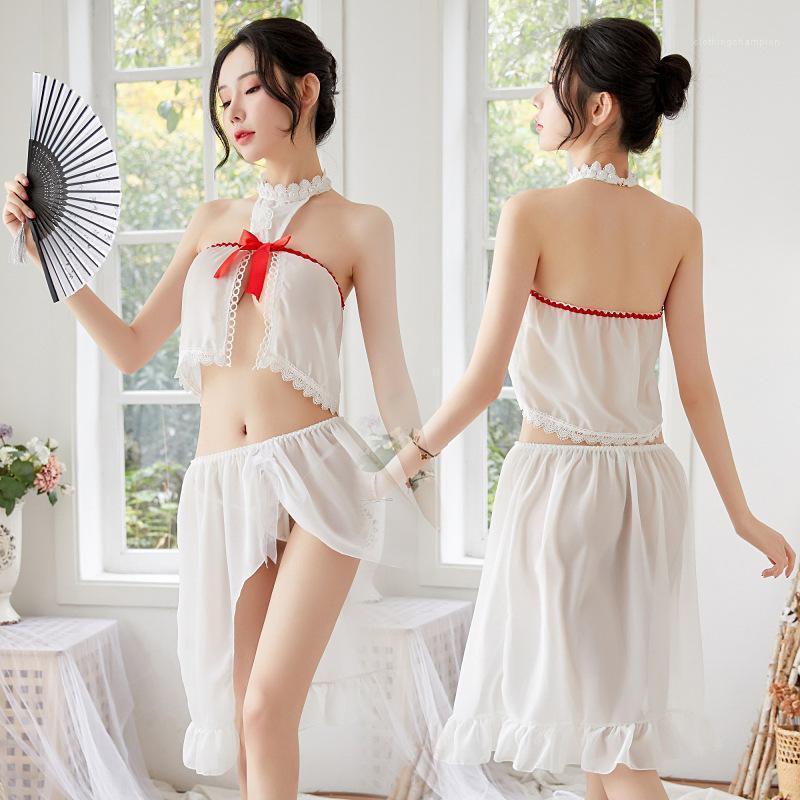 Pigiami sexy delle signore di modo 2pcs set di biancheria intima garza vedere attraverso femminile Abbigliamento donna Abbigliamento Donna Designer