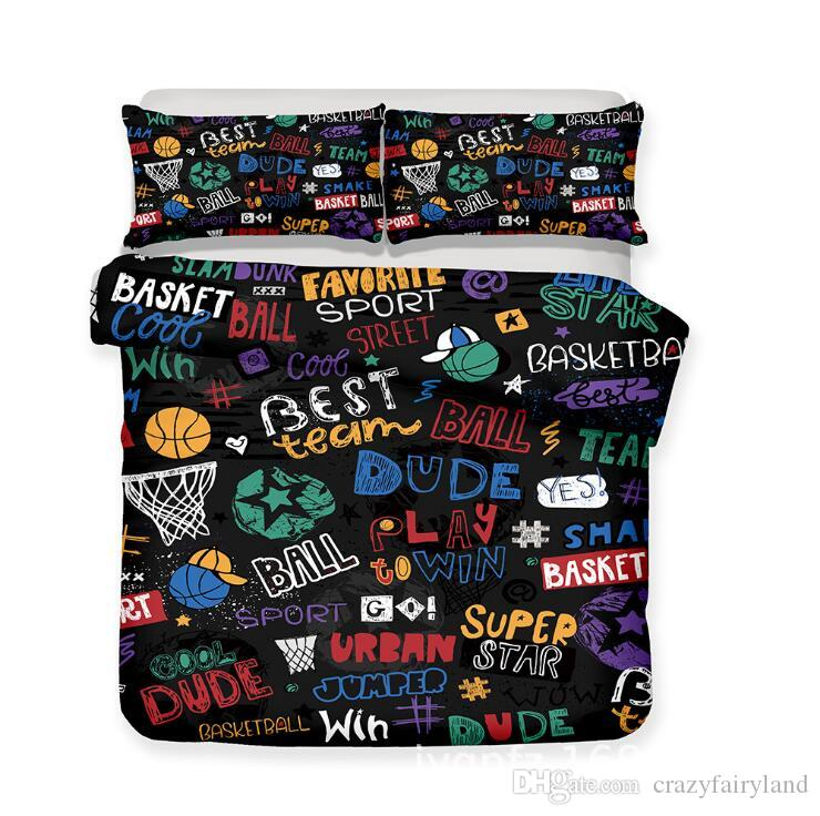 Basket-ball 3pcs literie de luxe ensemble housse de couette ensemble de lit King Size chambre d'enfant retour à l'école housse de couette taie d'oreiller ensembles cadeau de noël