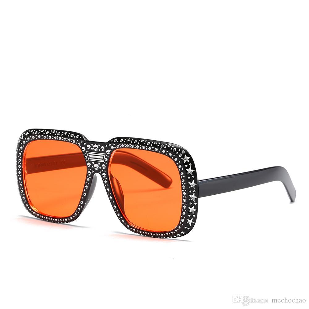 Sonnenbrille Damen Square Designer Damen Marke Goggles Diamant Frauen Sonnenbrille Retro Marke Sunshade Übergroße HD Designer Box Senden Sie OIDF