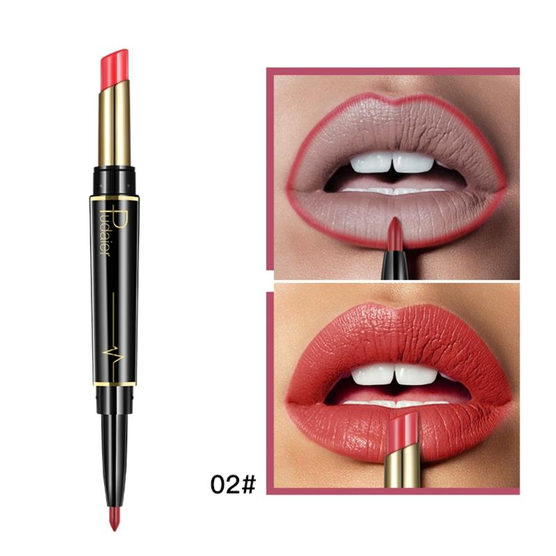 Pudaier Matte Moisturizing Double Heads Lipstick Permanent Waterproof Lip Liner