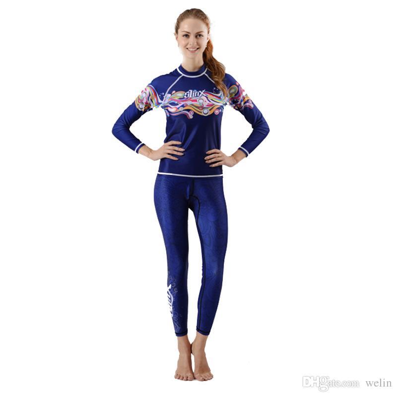 Rash Guard Full Body capa fina Lycra Suit Lady Proteção UV mangas compridas Esporte Dive pele fato de duas peças perfeitas para nadar
