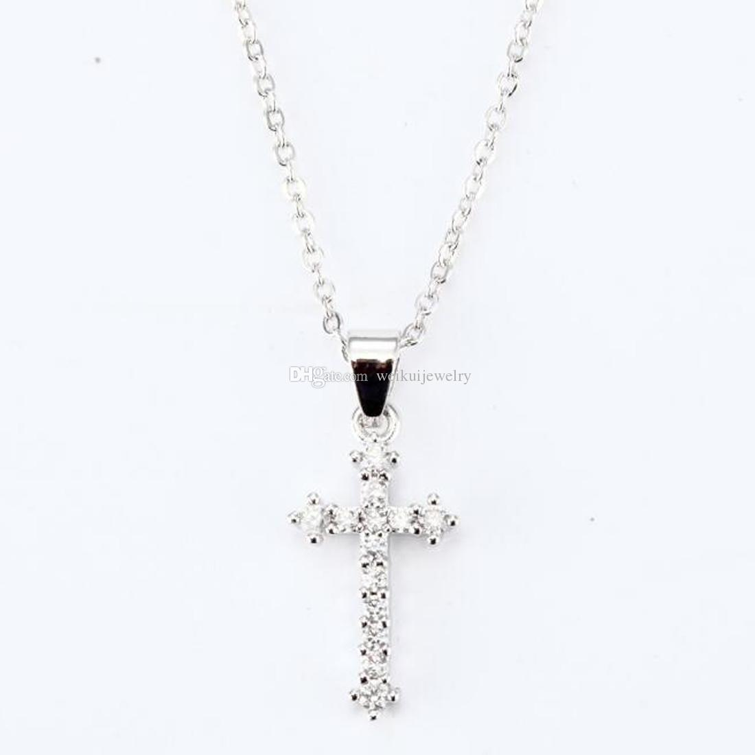 Wholesale Fashion Simple Stainless Steel Silver Gold Diamond Cross
