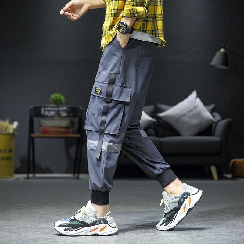 Été Léger Streetwear Hip Hop Sarouel Hommes Baggy Poches Ruban Joggers Pantalon Hommes Cheville Sarouel Piste Noir