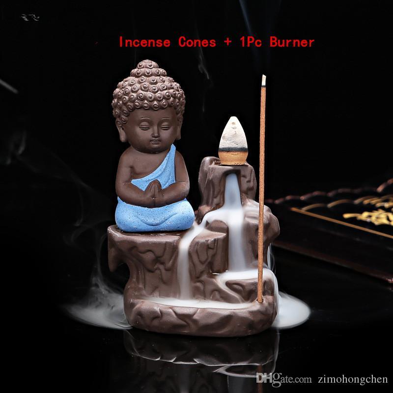 10 Unids Conos de Incienso + Quemador 1 Unid The Little Monk Incensario Pequeño Buda Incensario Caseta de Cerámica Quemador de Incienso Backflow Decoración para el hogar