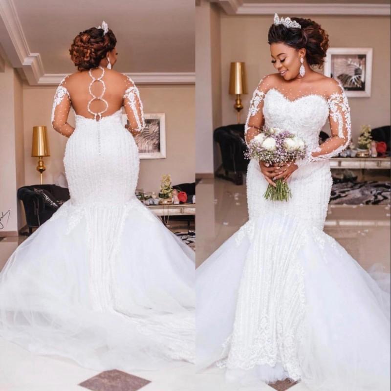 Luxus African Plus Size Mermaid Brautkleider Lange Illusion Sleeve Sheer Hals-Kristall-Korn-Gerichts-Zug arabische Hochzeit Brautkleider