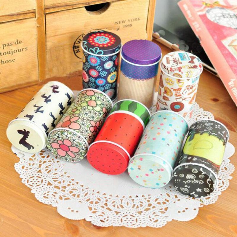 Stockage Tin Box Zakka Organisateur Petit décoratif Tins Boîte Design Fleurs Article cadeau Conteneurs ménages Nouveauté