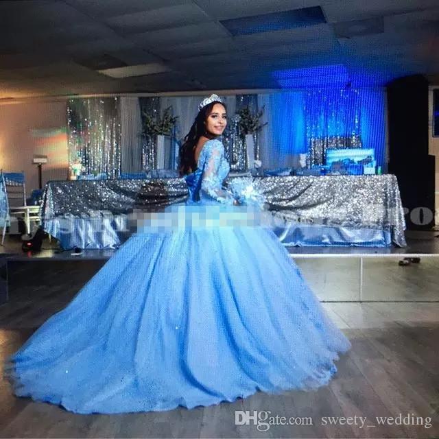 Prenses Balo Elbise Mavi Quinceanera Elbiseler Sevgiliye Flare Kol Dantel Aplikler Pembe Tatlı 16 Elbiseler Kabarık Tül Gelinlik Modelleri