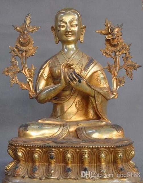 "12/"" Antique Tibetan Buddhism hand painting copper gilt Tsongkhapa Buddha statue"