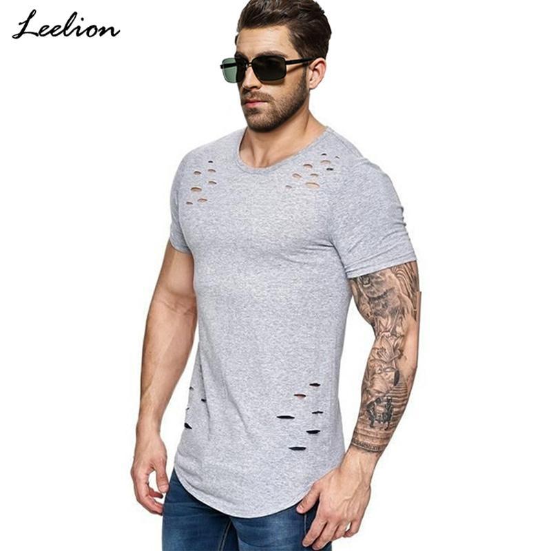 IceLion 2019 Nueva Primavera cortos de la camiseta de los hombres de moda Diseño Agujero de la aptitud del verano de manga corta sólido Hip Hop camiseta Slim Fit