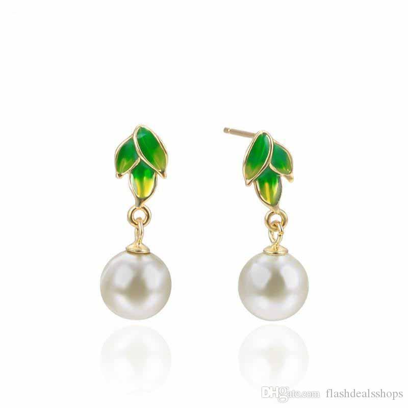 925 Sterling Silver Jewelry Freshwater Pearl Zircon Earrings Korean Fashion Woman Drip Oil Earrings Bead Short