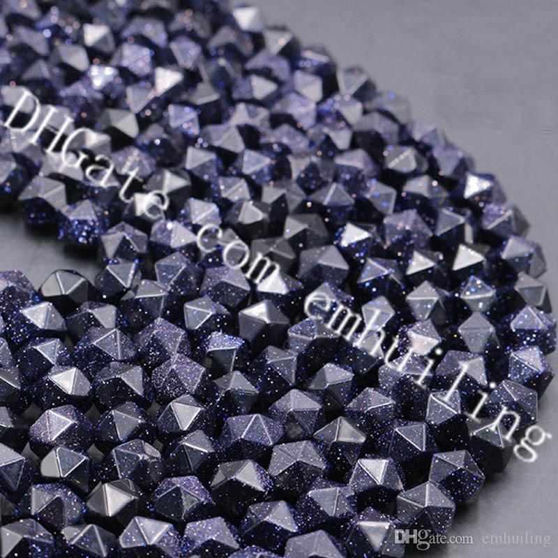 10 Strands Sale Dark Sky Starry Night Sparkling Blue Sandstone Star Cut Faceted Crystal Loose Beads 6mm-12mm Synthetic Blue Sand Stone Beads