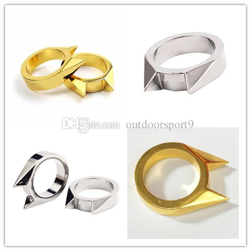 Small silver gold Cat Ear Breaker Finger Unisex Self defense ring Window Combat Survival EDC Tool Protect Outdoor Emergency Knuckle Duster
