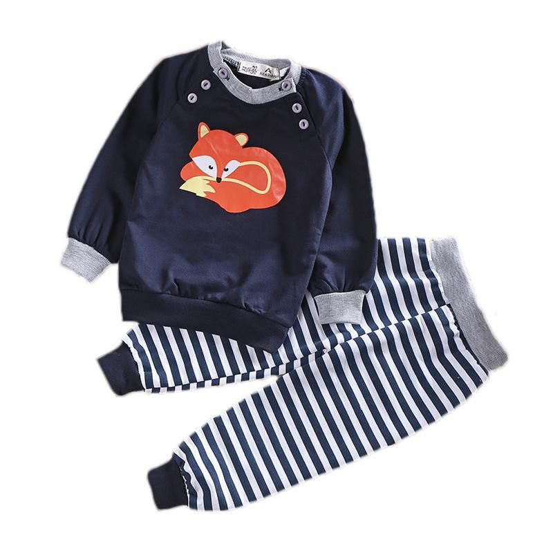 Nouvelle belle chemise de bande dessinée de bébé + pantalon à rayures enfants vêtements enfants costume de mode enfant en bas âge définit enfants définit la livraison