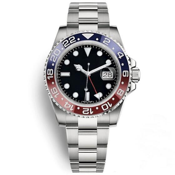 럭셔리 남자 시계 자동 기계식 패션 GMT II 블루 레드 세라믹 베젤 패션 시계 스테인레스 스틸 방수 30M 시계