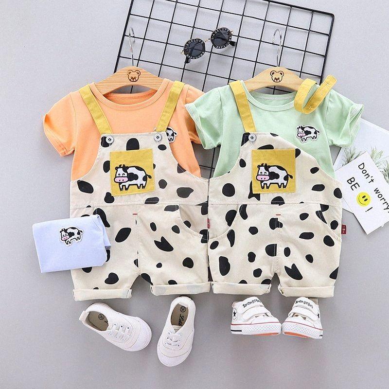 Bebé roupas de bebê calça jeans verão suspensórios calças terno da menina dinossauro dos desenhos animados vaca curto impressa da luva de duas peças terno SIGU #