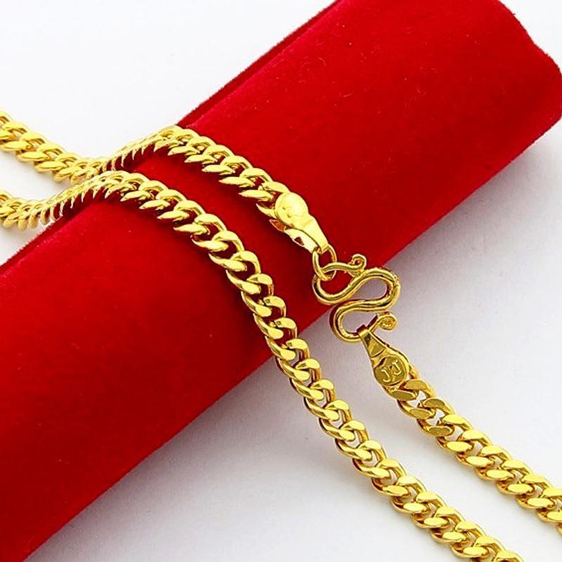 24 inç 5mm 24 K Altın Kaplama Kolye Altın Renk Zincir Adam Kadın Kolye Takı Erkekler Için Kadınlar Kadınlar Solmaz
