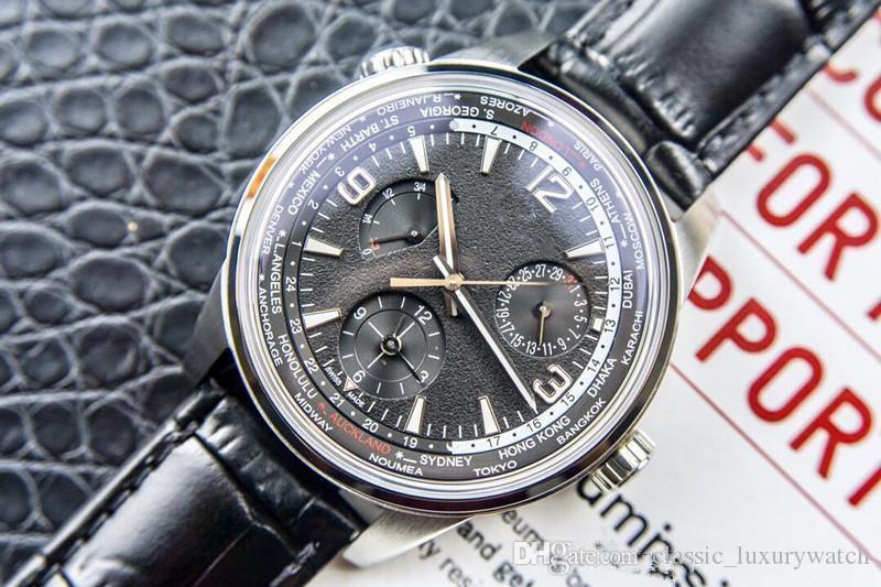 lujo / 1 automático de cadena de tiempo multifunción reloj de la zona de lujo TWA de los hombres del encanto del reloj nueva esfera de color negro timegeographic tabla de observación de 42 mm 936A