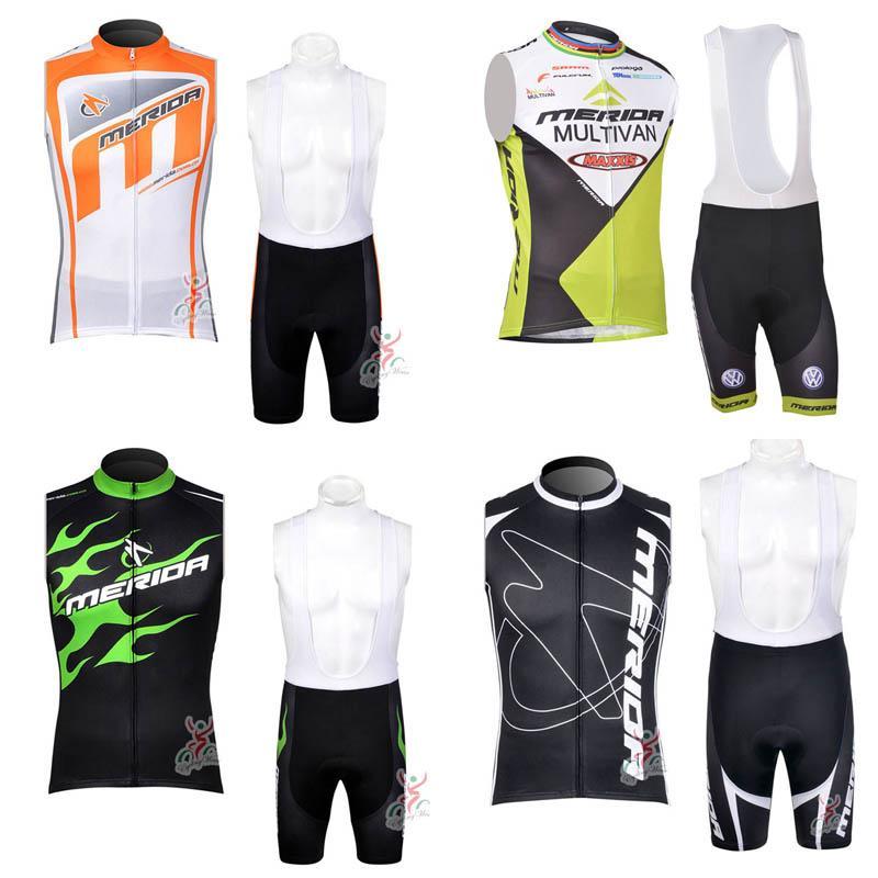 MERIDA 팀 사이클링 민소매 저지 조끼 (앞치마) 반바지 세트 자전거 민소매 저지 짧은 세트 운동복 통기성 c2902