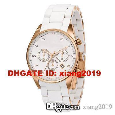 Inoxidable del envío libre Nueva AR5920 inoxidable reloj de cuarzo relojes cronógrafos para mujer Wirstwatch blanco + CAJA ORIGINAL