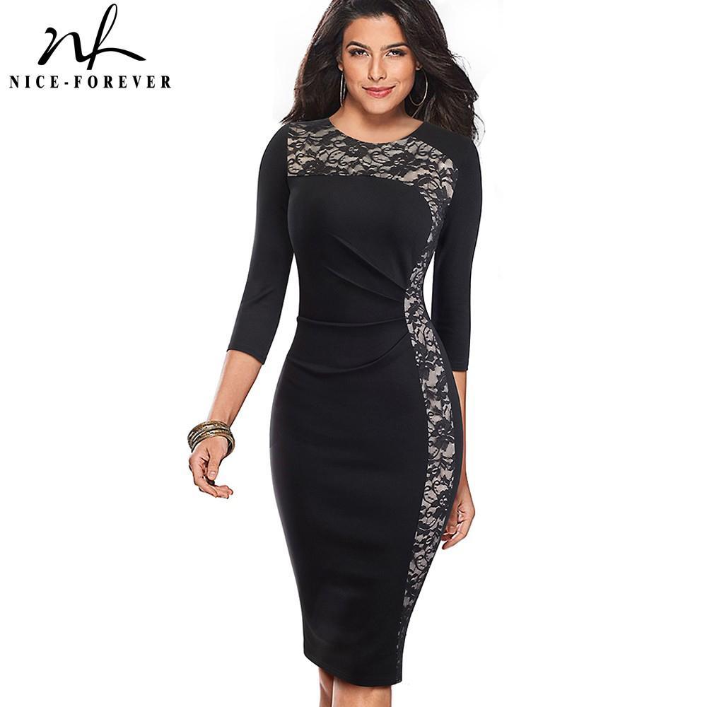 Nizza-per sempre vintage patchwork di pizzo indossare al lavoro vestidos business party aderente elegante ufficio tubino donne abito B489 J190601