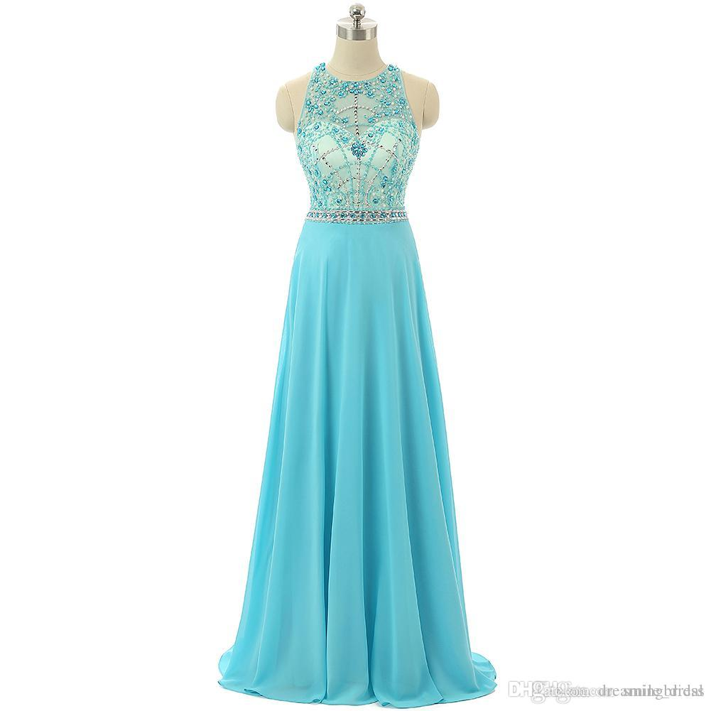 Sky Blue Vestidos de Baile Sexy A Linha Chiffon Vermelho Tapete Vestidos de Noite de Cristais Beads Sash Longo Prom Vestidos de Festa JAMC006