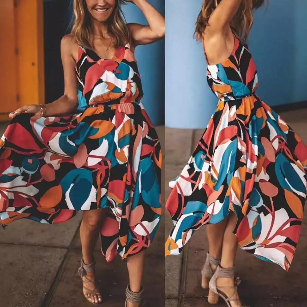새로운 2020 V 넥 스트랩 파티 드레스 여성의 섹시한 보헤미안 불규칙 헴 드레스 여러 가지 빛깔의 민소매 V 넥 섹시한 클럽 드레스