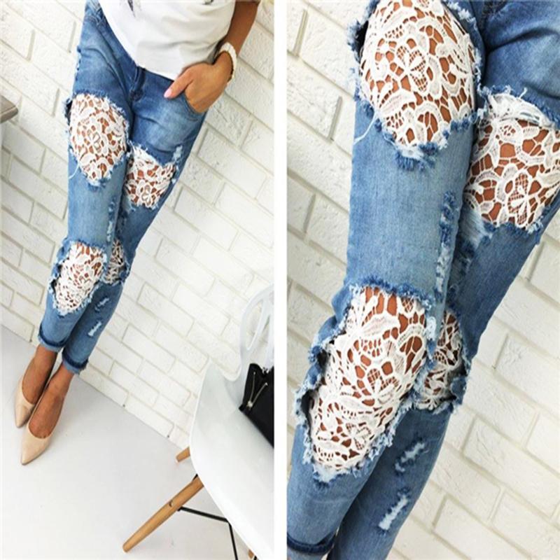 2018 Moda Feminina Lado Liso das Mulheres Lace Costura Calça Jeans Comprimento Lápis Calças Skinny Magro Completo Estiramento Lace Oco Jeans